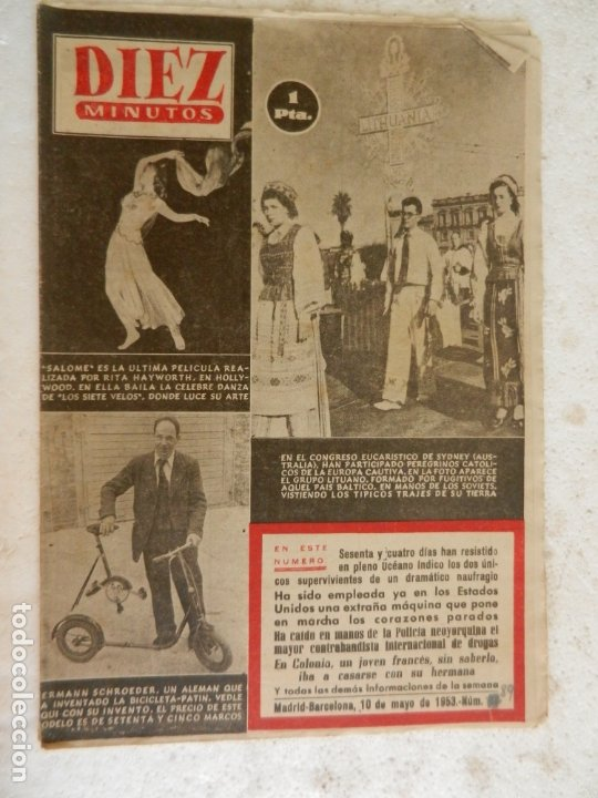 REVISTA DIEZ MINUTOS Nº 89 MAYO 1953. EN ESTE NÚMERO: CONGRESO EUCARÍSTICO DE SYDNEY..... (Coleccionismo - Revistas y Periódicos Modernos (a partir de 1.940) - Revista Diez Minutos)