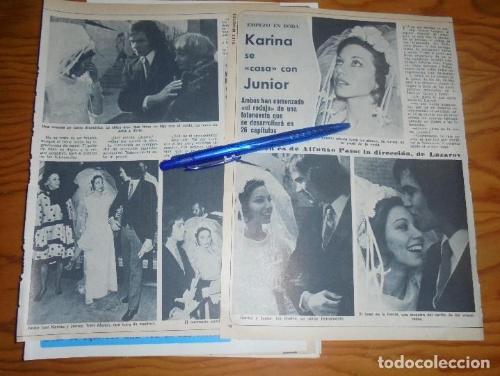 RECORTE : KARINA Y JUNIOR, SE CASAN EN PROXIMA FOTONOVELA . DIEZ MINUTOS, FBRERO 1973 () (Coleccionismo - Revistas y Periódicos Modernos (a partir de 1.940) - Revista Diez Minutos)