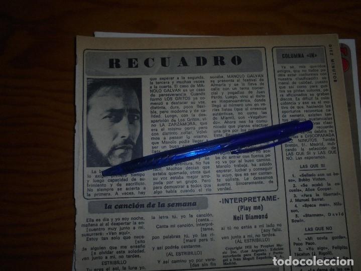 RECORTE : MANOLO GALVAN DIEZ MINUTOS, FBRERO 1973 () (Coleccionismo - Revistas y Periódicos Modernos (a partir de 1.940) - Revista Diez Minutos)