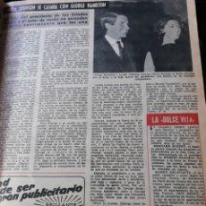 Coleccionismo de Revista Diez Minutos: LINDA JHONSON SE CASARA CON GEORGE HAMILTON - HOJA AÑO 1966. Lote 182374797