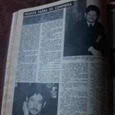Coleccionismo de Revista Diez Minutos: ENTREVISTA A VICENTE PARRA - AÑO 1966 - HOJA. Lote 182576121