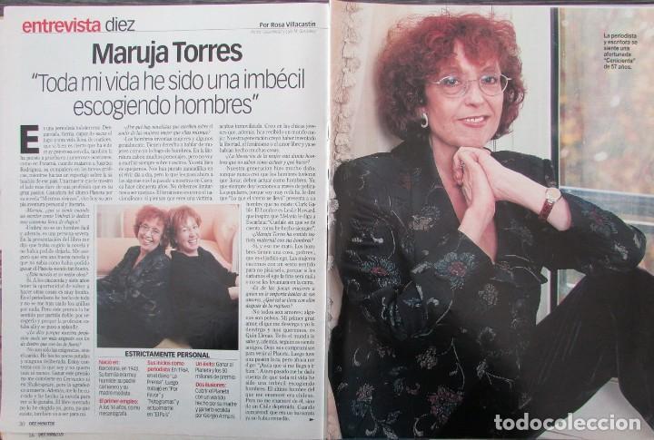 RECORTE REVISTA DIEZ MINUTOS Nº 2573 2000 MARUJA TORRES 4 PGS (Coleccionismo - Revistas y Periódicos Modernos (a partir de 1.940) - Revista Diez Minutos)
