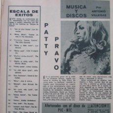 Coleccionismo de Revista Diez Minutos: RECORTE REVISTA DIEZ MINUTOS Nº 896 1968 PATTY PRAVO, JEANNE MOREAU, MIRIAM MAKEBA. Lote 191345286