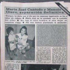 Coleccionismo de Revista Diez Minutos: RECORTE REVISTA DIEZ MINUTOS Nº 1434 1979 MARIA JOSE CANTUDO Y MANOLO OTERO. PORTADA Y 6 PGS. Lote 191436315