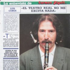 Coleccionismo de Revista Diez Minutos: RECORTE REVISTA DIEZ MINUTOS Nº 1915 1988 LUIS COBOS 4 PGS. Lote 193234193