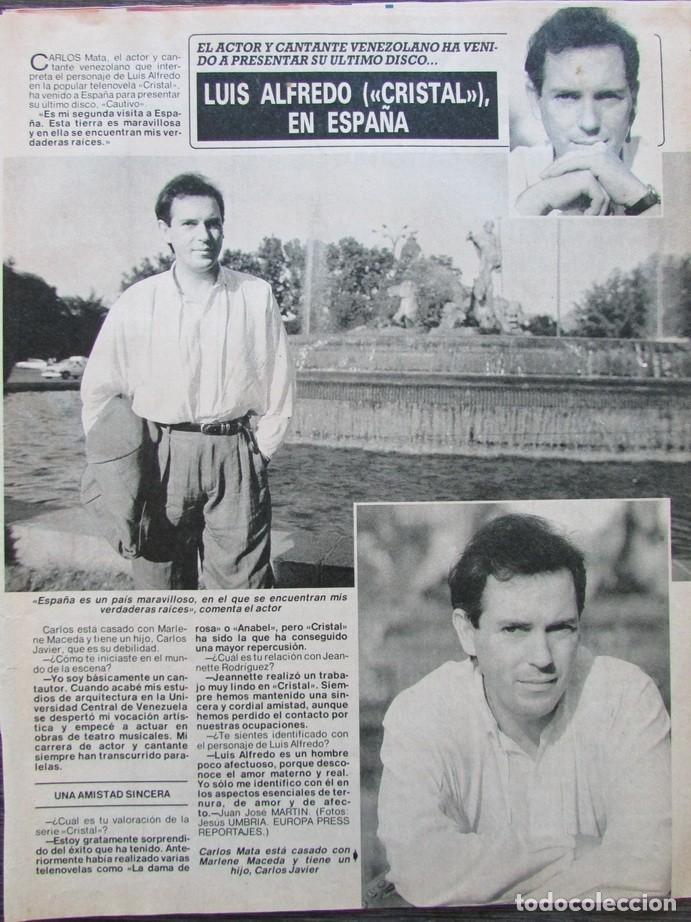 RECORTE REVISTA DIEZ MINUTOS Nº 2028 1990 CARLOS MATA (Coleccionismo - Revistas y Periódicos Modernos (a partir de 1.940) - Revista Diez Minutos)