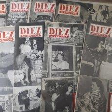 Coleccionismo de Revista Diez Minutos: DIEZ PEQUEÑAS REVISTAS DIEZ MINUTOS MUY GASTADAS AÑOS 1952 Y 53. Lote 197592822