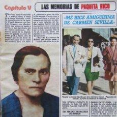 Coleccionismo de Revista Diez Minutos: RECORTE REVISTA DIEZ MINUTOS Nº 1682 1983 MEMORIAS DE PAQUITA RICO. CAPITULO V 8 PGS. Lote 206999328