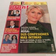 Coleccionismo de Revista Diez Minutos: PRONTO , ROSA SUS CONFESIONES MÁS ÍNTIMAS , FRAN RIVERA PRESENTÓ A CECILIA COMO SU NOVIA. Lote 212927608