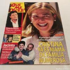 Coleccionismo de Revista Diez Minutos: ¡QUÉ ME DICES! LA INFANTA CRISTINA , ERNESTO NEIRA , PARA MÍ CARMINA ESTÁ MUERTA. Lote 212928050