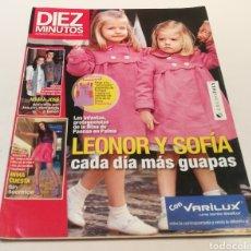 Coleccionismo de Revista Diez Minutos: DIEZ MINUTOS , LEONOR Y SOFÍA CADA DÍA MAS GUAPA , INMA CUESTA SIN SECRETO. Lote 212942126