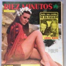 Coleccionismo de Revista Diez Minutos: REVISTA DIEZ MINUTOS , JUNIO 1975 , BRUNO LOMAS , BODA ANGEL NIETO , POSTER PILAR VELAZQUEZ. Lote 215825623