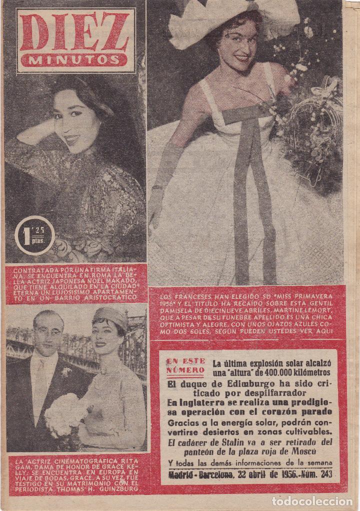 REVISTA DIEZ MINUTOS Nº - 243 --- 22 -- ABRIL 1956 (Coleccionismo - Revistas y Periódicos Modernos (a partir de 1.940) - Revista Diez Minutos)