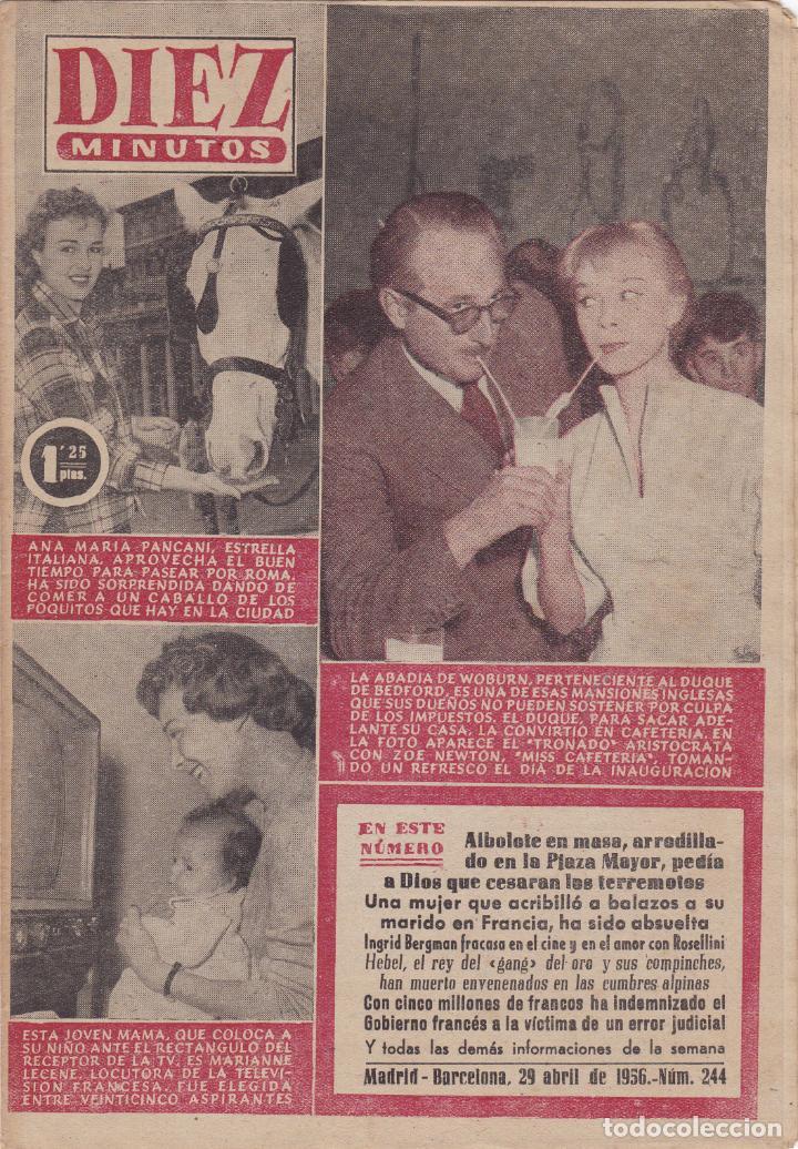 REVISTA DIEZ MINUTOS Nº - 244 --- 29 -- ABRIL 1956 (Coleccionismo - Revistas y Periódicos Modernos (a partir de 1.940) - Revista Diez Minutos)