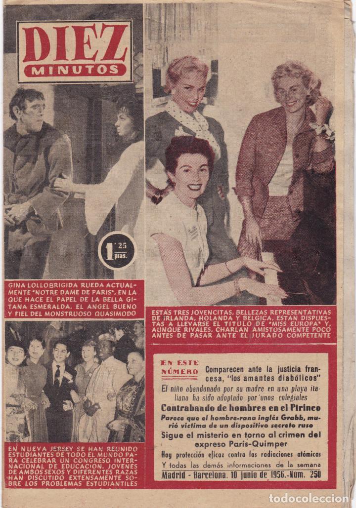 REVISTA DIEZ MINUTOS Nº - 250 --- 10 -- JUNIO 1956 (Coleccionismo - Revistas y Periódicos Modernos (a partir de 1.940) - Revista Diez Minutos)