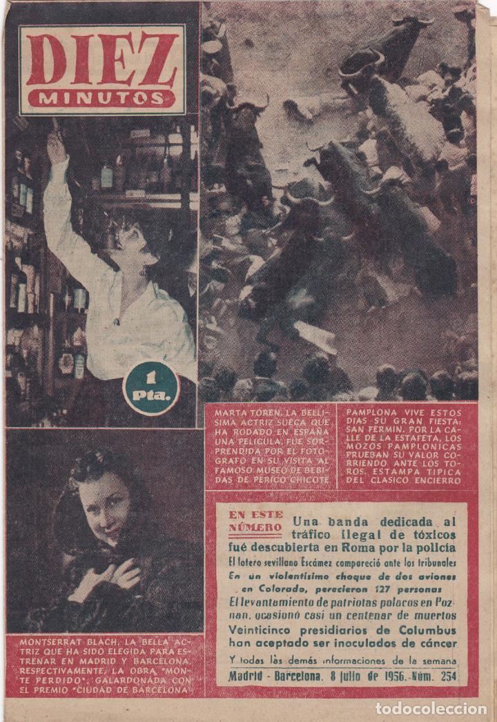 REVISTA DIEZ MINUTOS Nº - 254 --- 8 -- JULIO 1956 (Coleccionismo - Revistas y Periódicos Modernos (a partir de 1.940) - Revista Diez Minutos)