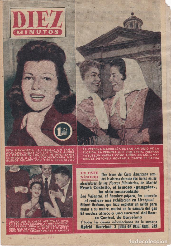 REVISTA DIEZ MINUTOS Nº - 249 --- 3 -- JUNIO 1956 (Coleccionismo - Revistas y Periódicos Modernos (a partir de 1.940) - Revista Diez Minutos)