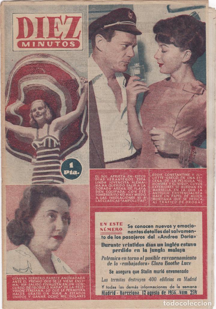 REVISTA DIEZ MINUTOS Nº - 259 -- 12 -- AGOSTO 1956 (Coleccionismo - Revistas y Periódicos Modernos (a partir de 1.940) - Revista Diez Minutos)