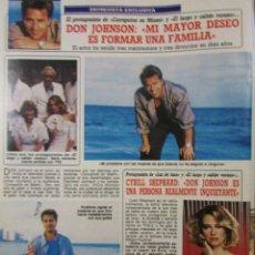 Collectionnisme de Magazine Diez Minutos: RECORTE REVISTA DIEZ MINUTOS Nº 1850 1987 DON JOHNSON 2 PGS. Lote 224957725