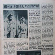 Coleccionismo de Revista Diez Minutos: RECORTE REVISTA DIEZ MINUTOS Nº 914 1969 SIDNEY POITIER 2 PGS. Lote 228042990