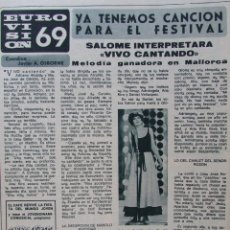 Coleccionismo de Revista Diez Minutos: RECORTE REVISTA DIEZ MINUTOS Nº 914 1969 SALOMÉ. FESTIVAL DE EUROVISIÓN 2 PGS. Lote 228043155