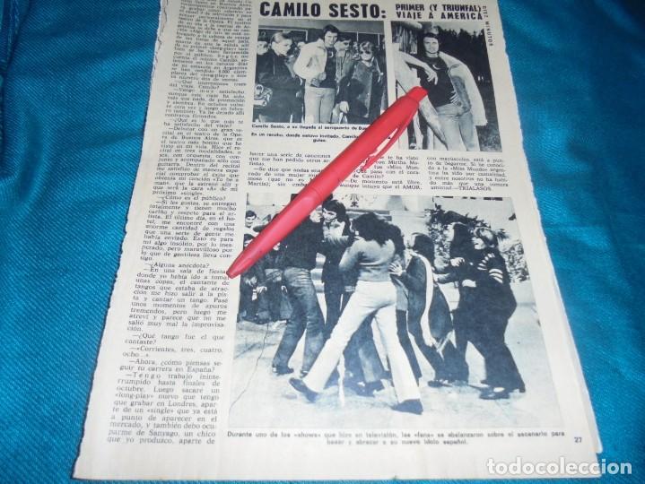 RECORTE : CAMILO SESTO, PRIMER VIAJE A AMERICA. DIEZ MINUTOS, AGTO 1972(#) (Coleccionismo - Revistas y Periódicos Modernos (a partir de 1.940) - Revista Diez Minutos)