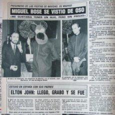 Collezionismo di Rivista Diez Minutos: RECORTE REVISTA DIEZ MINUTOS N.º 1949 1988 MIGUEL BOSÉ, ELTOH JOHN. Lote 240492055