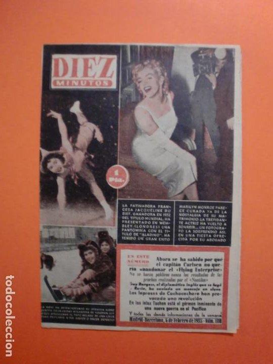 Nº 180 6 FEBRERO 1955 MARILYN MONROE PORTADA Y ARTICULO INTERIOR - NAUTILUS (Coleccionismo - Revistas y Periódicos Modernos (a partir de 1.940) - Revista Diez Minutos)