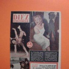 Coleccionismo de Revista Diez Minutos: Nº 180 6 FEBRERO 1955 MARILYN MONROE PORTADA Y ARTICULO INTERIOR - NAUTILUS. Lote 243911725