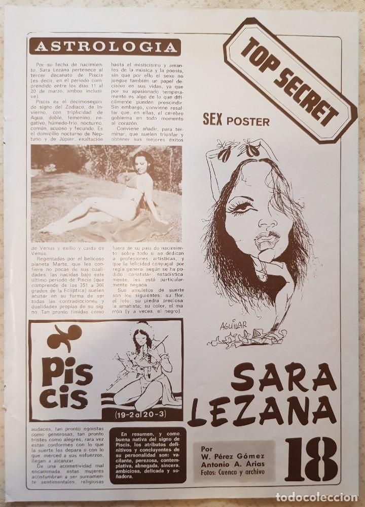 Coleccionismo de Revista Diez Minutos: SEX PÓSTER TOP SECRET - Nº 18 - SARA LEZANA - REVISTA DIEZ MINUTOS - Foto 2 - 253887265
