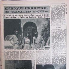 Coleccionismo de Revista Diez Minutos: RECORTE REVISTA DIEZ MINUTOS N.º 1465 1979 ENRIQUE HERREROS. 2 PGS. Lote 254990525
