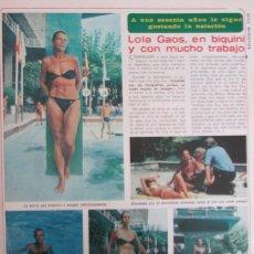 Coleccionismo de Revista Diez Minutos: RECORTE REVISTA DIEZ MINUTOS N.º 1465 1979 LOLA GAOS. TIP Y COLL. Lote 254992415