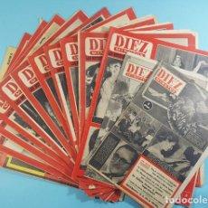 Coleccionismo de Revista Diez Minutos: LOTE 14 REVISTAS DIEZ MINUTOS 1952 A 1963, Nº 47,48,50,553,558,563,565,570,571,572,573,574,575 Y 615. Lote 254998070