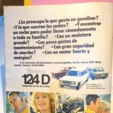Coleccionismo de Revista Diez Minutos: ANUNCIO SEAT 124D 124 D. Lote 255667015