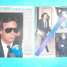 Coleccionismo de Revista Diez Minutos: JULIO IGLESIAS EN ESPAÑA- ENTREVISTA- MANUEL ALEJANDRO -RECORTE 3 PAG- DIEZ MINUTOS AÑO 1987. Lote 262329045