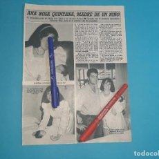 Coleccionismo de Revista Diez Minutos: ANA ROSA QUINTANA MADRE NIÑO- ENTREVISTA- RECORTE 1 PAG- DIEZ MINUTOS AÑO 1986. Lote 262331010