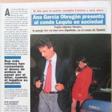Coleccionismo de Revista Diez Minutos: RECORTE REVISTA DIEZ MINUTOS N.º 2067 1991 ANA OBREGÓN Y ALESSANDRO LEQUIO. ANTONIA DELL'ATTE. Lote 269625598