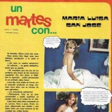 Coleccionismo de Revista Diez Minutos: MARÍA LUISA SAN JOSÉ: GRAN REPORTAJE GRÁFICO. AÑOS 70. Lote 282984818