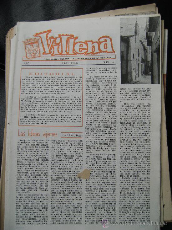 VILLENA PUBLICACIÓN CULTURAL E INFORMATIVA DE LA COMARCA Nº6 JUNIO1968 EL MERCADO D LOS JUEVES CHAPÍ (Coleccionismo - Revistas y Periódicos Modernos (a partir de 1.940) - Revista El Jueves)