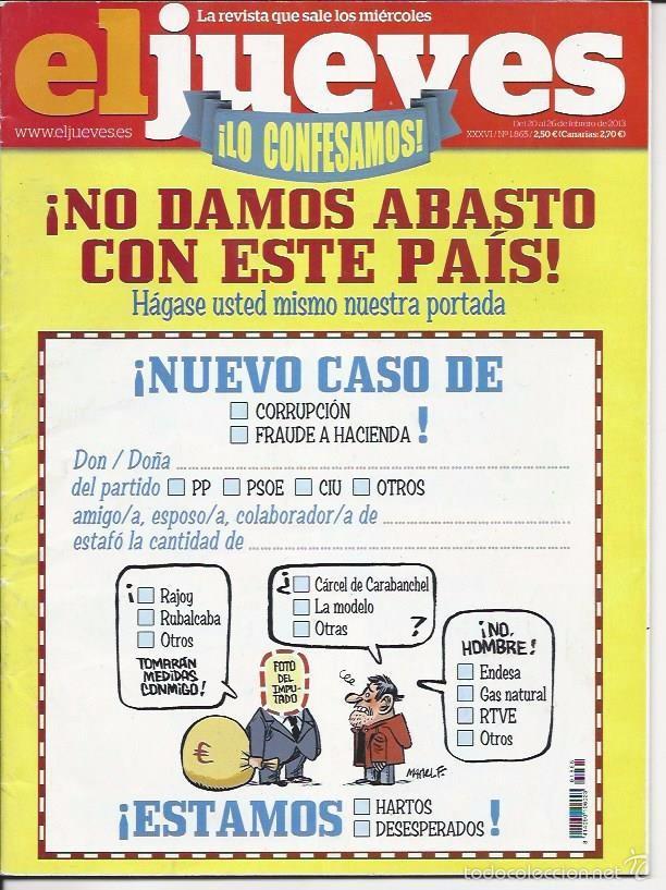EL JUEVES N° 1865- AÑO 2013 - SEGUNDA MANO (Coleccionismo - Revistas y Periódicos Modernos (a partir de 1.940) - Revista El Jueves)