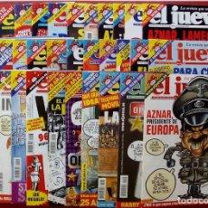 Coleccionismo de Revista El Jueves: REVISTA EL JUEVES. AÑO 2002. LOTE 21 NÚMEROS ENTRE 1291 Y 1333 - CON REGALOS. Lote 79274129