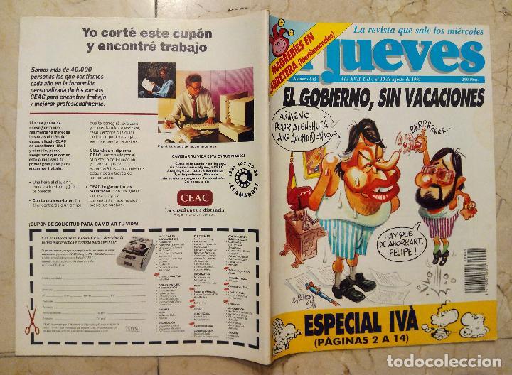REVISTA EL JUEVES Nº 845 - EL GOBIERNO, SIN VACACIONES - DEL 4 AL 10 DE AGOSTO DE 1993. segunda mano