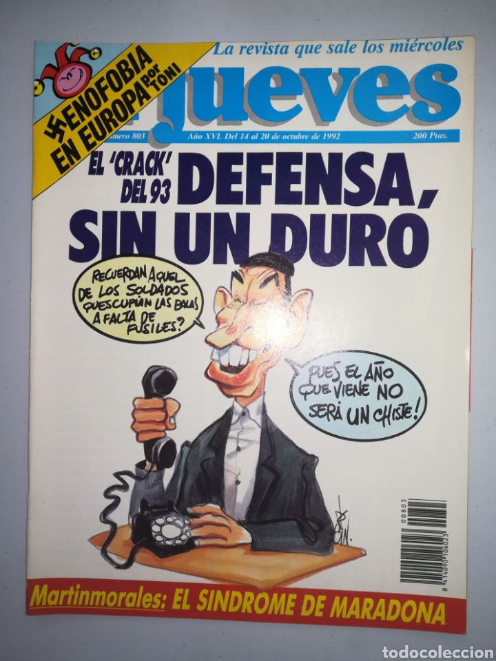 REVISTA EL JUEVES AÑO XVI NUM 803 DEL 14 AL 20 DE OCTUBRE DE 1992 (Coleccionismo - Revistas y Periódicos Modernos (a partir de 1.940) - Revista El Jueves)