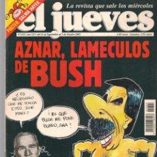 Coleccionismo de Revista El Jueves: EL JUEVES. Nº 1322. AZNAR, LAMECULO DE BUSH. POSTER: SALMA HAYEK.(VIZCARRA). 25/9/2002.(P/B9). Lote 221476627