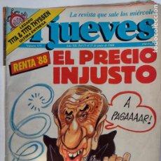 Coleccionismo de Revista El Jueves: EL JUEVES 577 - 15 A 21JUNIO 1988 EL PRECIO IN-JUSTO - RENTA 88 - TITA & TITO THYSSEN. Lote 297097168
