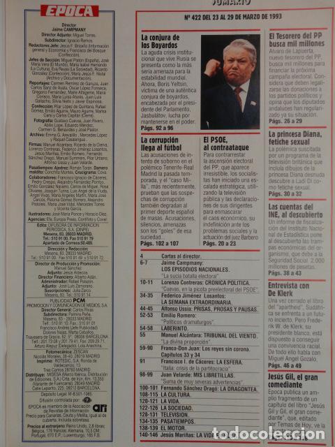 Coleccionismo de Revista Época: REVISTA EPOCA Nº 422 AÑO 1993 -TRIBUTO DEL REY A SU PADRE -CAMPAÑA ELECTORAL - P P - LADY DI - - Foto 3 - 69412657