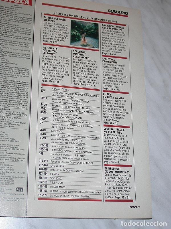 Coleccionismo de Revista Época: REVISTA ÉPOCA Nº 245 NOVIEMBRE 1989. CRISIS EN CDS ADOLFO SUAREZ, ISABEL PREYSLER, SOLCHAGA, LEGUINA - Foto 2 - 93143525