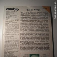 Coleccionismo de Revista Época: CAMBIO 16 Nº 232 17/05/76 LE FALTA PORTADA Y CONTRAPORTADA. Lote 199396293