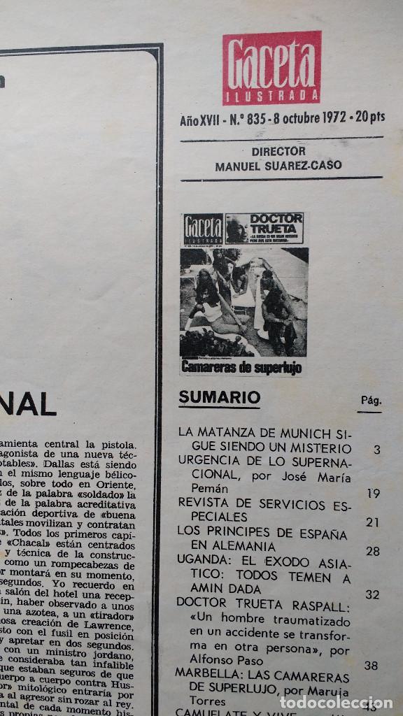 Coleccionismo de Revista Gaceta Ilustrada: GACETA ILUSTRADA Nº 835-1972 - LA MATANZA DE MUNICH - PUBLICIDAD SCHWEPPES - DKW MEVOSA - Foto 6 - 86505908