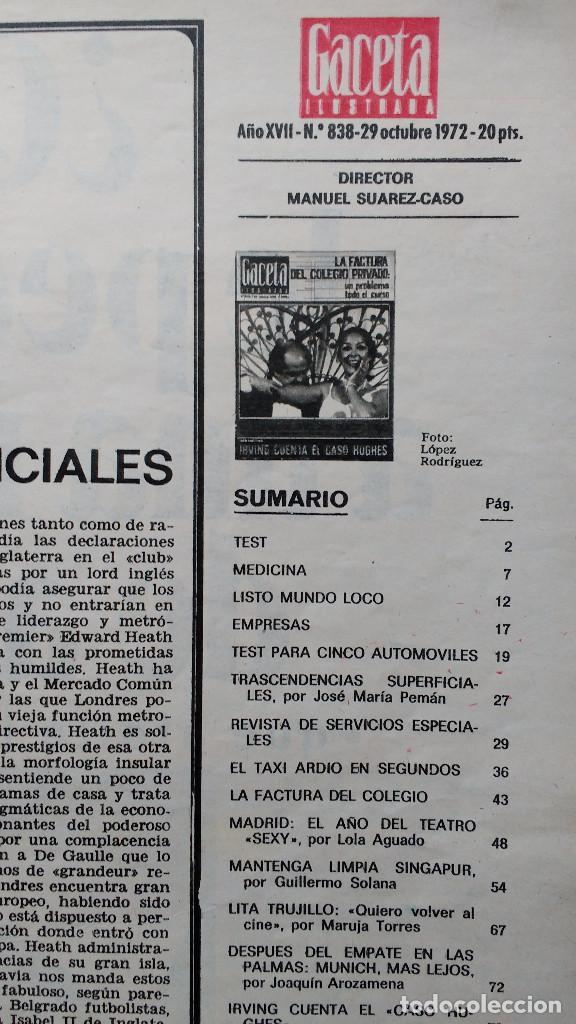 Coleccionismo de Revista Gaceta Ilustrada: GACETA ILUSTRADA Nº 838-1972 - IRVING EL CASO HUGHES - FIRESTONE - SEAT 60 - AUSTIN VICTORIA-FYNLEY - Foto 8 - 86506096